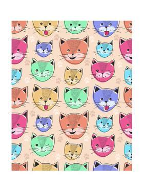 Cute Cat Seamless Pattern for Children by cherry blossom girl