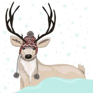 Cute Deer With Hat Winter Background by cherry blossom girl