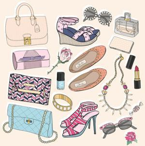 Fashion Accessories Set. Background with Bags, Sunglasses, Shoes, Jewelery, Makeup and Flowers. by cherry blossom girl