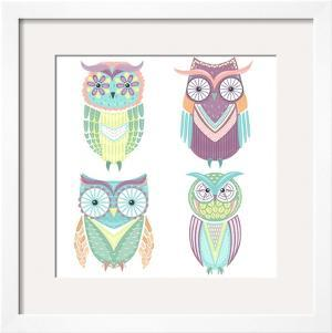Set Of Cute Colorful Owls by cherry blossom girl