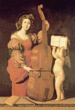 Cherub Holds Music Book for Woman Playing the Cello