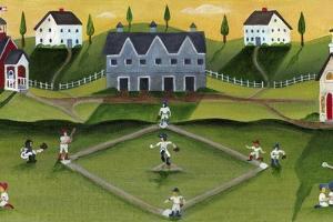 Baseball Game School Church Village by Cheryl Bartley