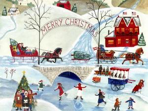 Christmas Day Skating by Old Stone Bridge by Cheryl Bartley