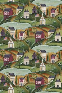 Primitive American Folk Art Village of Yesteryear Bartley by Cheryl Bartley