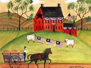 Primitive Americana Sheep with Horse and Wagon Cheryl Bartley by Cheryl Bartley