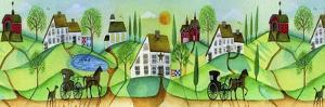 Primitive Folk Art Saltbox Village Border by Cheryl Bartley