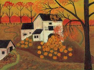 Pumpkin Barn Autumn Folk Art Cheryl Bartley by Cheryl Bartley
