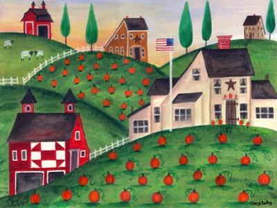 Pumpkin Red Barn Folk Art Cheryl Bartley by Cheryl Bartley