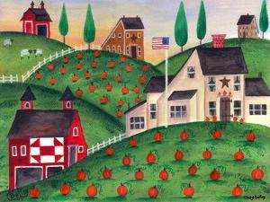 Pumpkin Red Barn Folk Art Cheryl Bartley by Cheryl Bartley