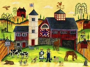 Red Barn Farmyard Folk Art by Cheryl Bartley