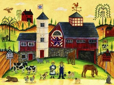 Red Barn Farmyard Folk Art