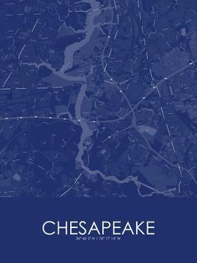 Chesapeake, United States of America Blue Map
