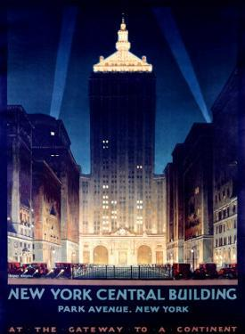 New York, Central Building, 1930 by Chesley Bonestell