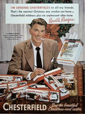 Chesterfield Cigarette Advertisement Featuring Ronald Reagan