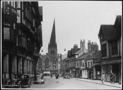 Chesterfield, Derbyshire, England with the Crooked Spire Dominating the Skyline