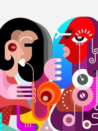 Woman Playing Saxophone by chetverikov