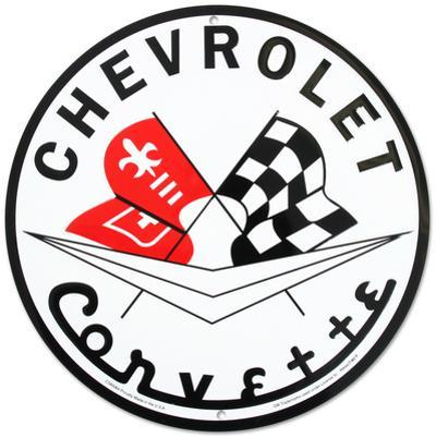 Chevrolet Chevy Corvette Racing Flags Round
