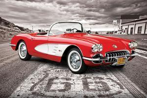 Chevrolet: Corvette- Classic Red 1959 On Route 66