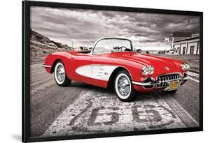 Chevrolet: Corvette- Classic Red 1959 On Route 66