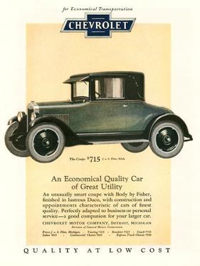 Chevrolet, Magazine Advertisement, USA, 1925