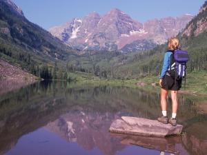 Woman Hiker at Maroon Bells, Aspen, CO by Cheyenne Rouse