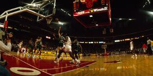 Chicago bulls player playing in a stadium, Chicago Stadium, Chicago, Cook County, Illinois, USA