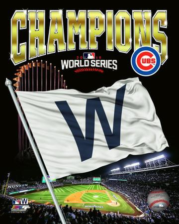 Chicago Cubs 2016 World Series Champions W Flag Composite