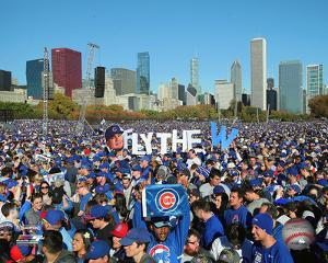 Chicago Cubs fans rally in Grant Park to celebrate team's World Series victory, 11/4/16 in Chicago
