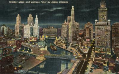 Chicago River at Wacker by Night, Chicago, Illinois