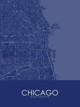 Chicago, United States of America Blue Map