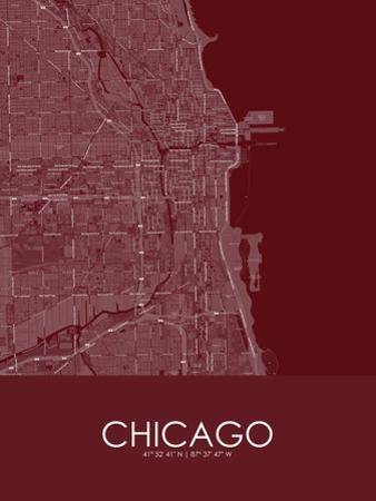 Chicago, United States of America Red Map