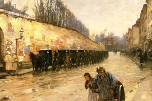 Cab Station, Rue Bonaparte, Paris, 1887 by Childe Hassam