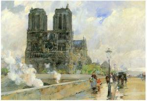 Childe Hassam Cathedral of Notre Dame 1888 Art Print Poster
