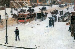 Fifth Avenue in Winter by Childe Hassam