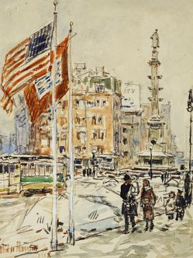 Flags, Columbus Circle, 1918 by Childe Hassam