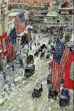 Flags on 57th Street, Winter 1918 by Childe Hassam