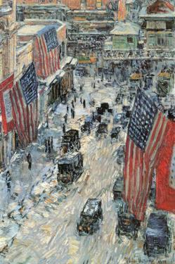Flags on Fifth Avenue, Winter 1918 by Childe Hassam