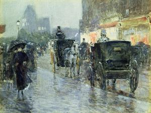 Horse Drawn Cabs at Evening, New York, C.1890 by Childe Hassam