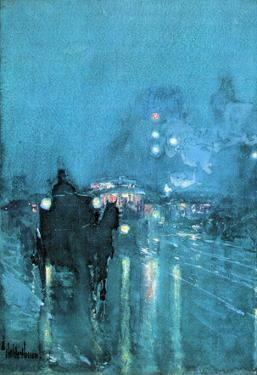 Childe Hassam Nocturne Railway Crossing Chicago Art Print Poster