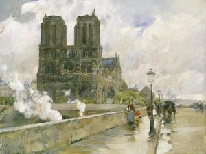 Notre Dame Cathedral, Paris, 1888 by Childe Hassam