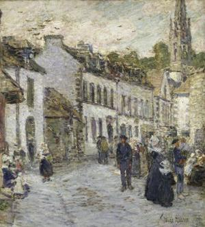 Street in Pont Aven in Evening by Childe Hassam