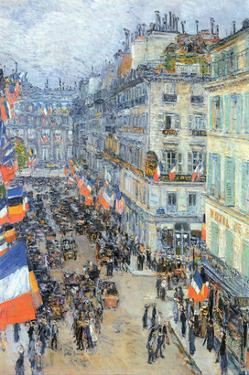The 14th July, Rue Daunou by Childe Hassam