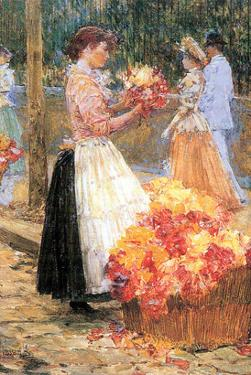 Woman Sells Flowers by Childe Hassam