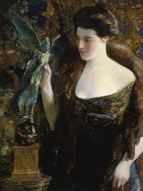 Young Woman and Statue by Childe Hassam