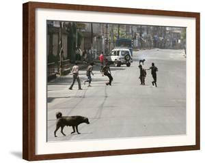 Children Play Soccer on a Deserted Street of Katmandu, Nepal