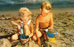 Children Playing with Sand Pails