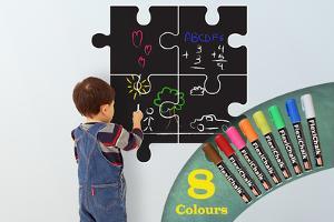 Children Puzzle Blackboard with Flexichalk Marker Bright Colour Liquid Chalks Pen