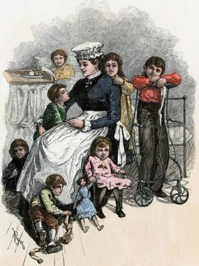 Children's Ward nurse with Her Patients at Bellevue Hospital, New York City, 1870s