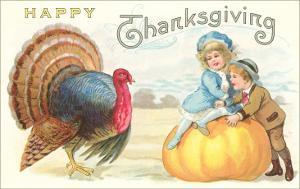 Children, Turkey and Pumpkin