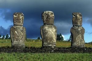 Chile, Easter Island, Rapa-Nui National Park, Ahu Akivi, Anthropomorphic 'Moai' Monoliths